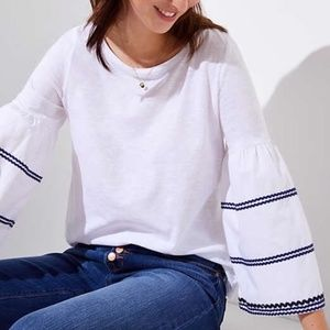 LOFT Bell Sleeve Embroidered Top